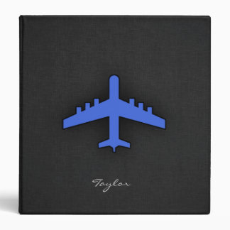 Royal Blue Airplane 3 Ring Binder