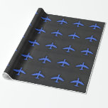 Royal Blue Airplane Gift Wrapping Paper