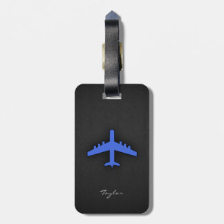 Royal Blue Airplane Luggage Tag