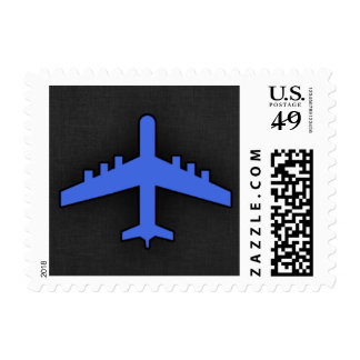 Royal Blue Airplane Postage Stamp