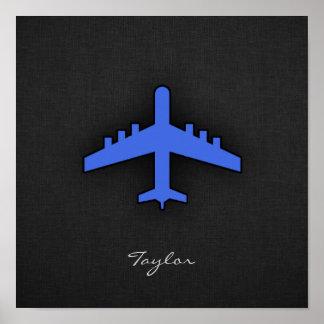 Royal Blue Airplane Poster