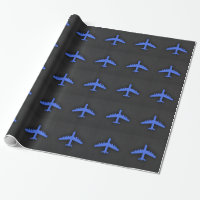 Royal Blue Airplane Wrapping Paper