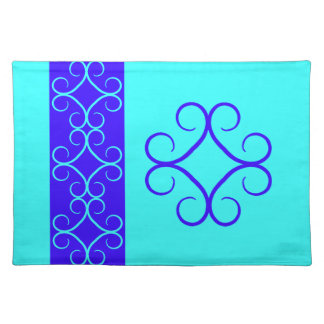 Royal blue and aqua color fancy swirl cloth placemat