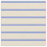 [ Thumbnail: Royal Blue and Beige Colored Lines Fabric ]