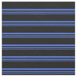 [ Thumbnail: Royal Blue and Black Colored Lines Fabric ]