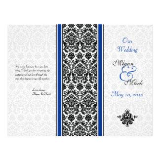 "Royal Blue and Black Damask Wedding Program 8.5"" X 11"" Flyer"