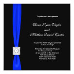 "Royal Blue and Black Wedding 5.25"" Square Invitation Card"