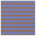 [ Thumbnail: Royal Blue and Brown Colored Lined Pattern Fabric ]
