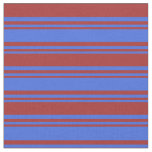 [ Thumbnail: Royal Blue and Brown Colored Lines Pattern Fabric ]