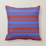 [ Thumbnail: Royal Blue and Brown Colored Lines Pattern Pillow ]