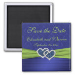 Royal Blue and Chartreuse Damask Magnet