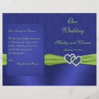 Royal Blue and Chartreuse Damask Wedding Program