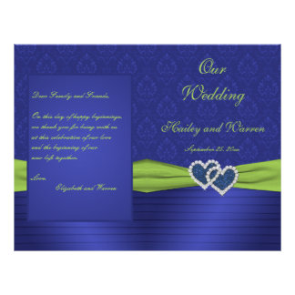 Royal Blue and Chartreuse Damask Wedding Program