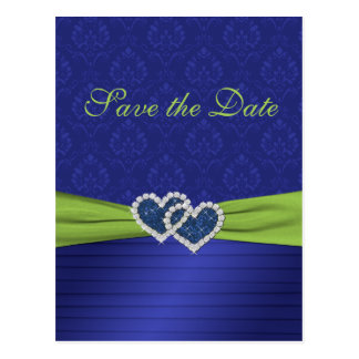 Royal Blue And Chartreuse Save The Date Postcard