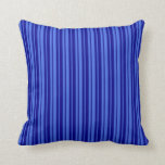 [ Thumbnail: Royal Blue and Dark Blue Striped Pattern Pillow ]