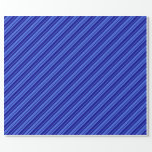 [ Thumbnail: Royal Blue and Dark Blue Striped Pattern Wrapping Paper ]