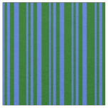 [ Thumbnail: Royal Blue and Dark Green Colored Striped Pattern Fabric ]