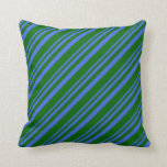 [ Thumbnail: Royal Blue and Dark Green Colored Striped Pattern Throw Pillow ]