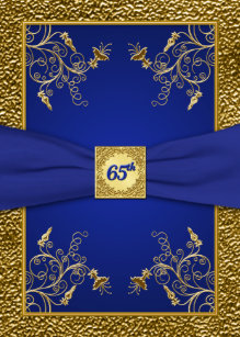 Royal blue and gold birthday invitations zazzle royal blue and gold 65th birthday invitation stopboris Choice Image