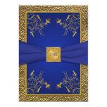 "Royal Blue and Gold 75th Birthday Invitation 5"" X 7"" Invitation Card"