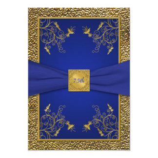 Royal Blue and Gold 75th Birthday Invitation