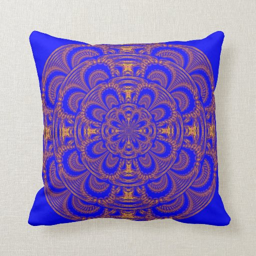 Royal blue and gold american mojo pillow zazzle for Blue and gold pillows