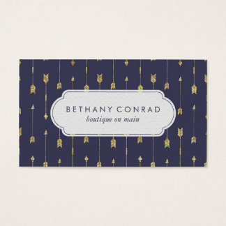 Royal Blue and Gold Arrow Business Card