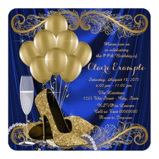Royal Blue and Gold Birthday Party Satin Glam Card