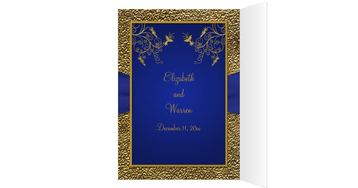 Gold And Blue Wedding Invitations: Royal Blue And Gold Card Style Wedding Invite