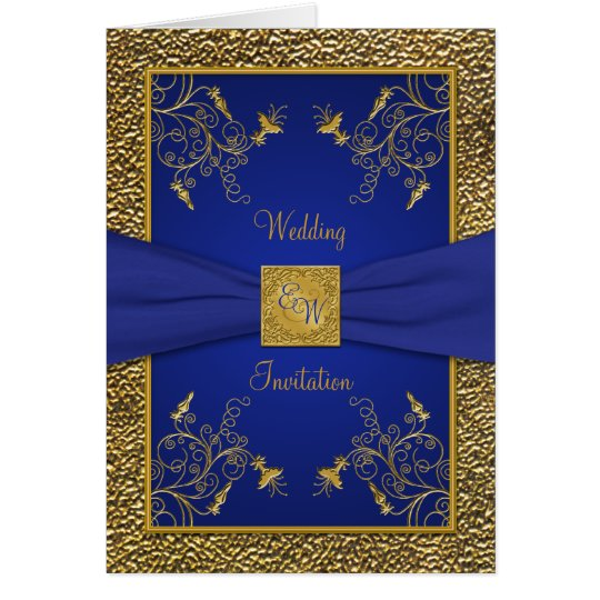 Royal Blue Wedding Invitation Cards: Royal Blue And Gold Card Style Wedding Invite
