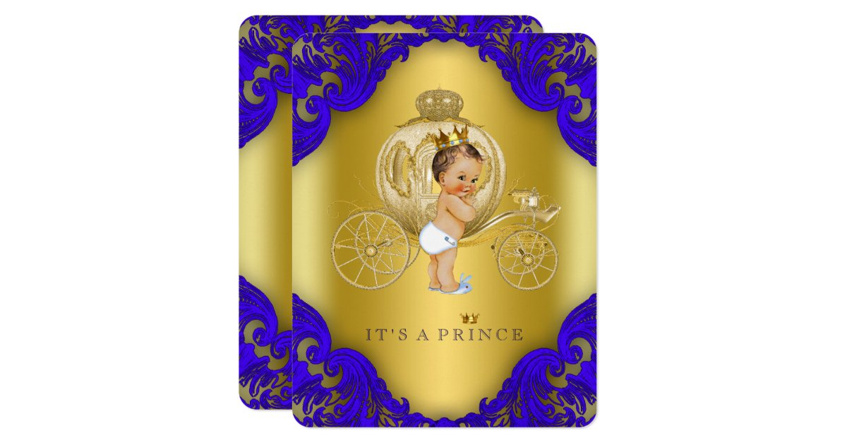 royal blue and gold carriage prince baby shower card zazzle