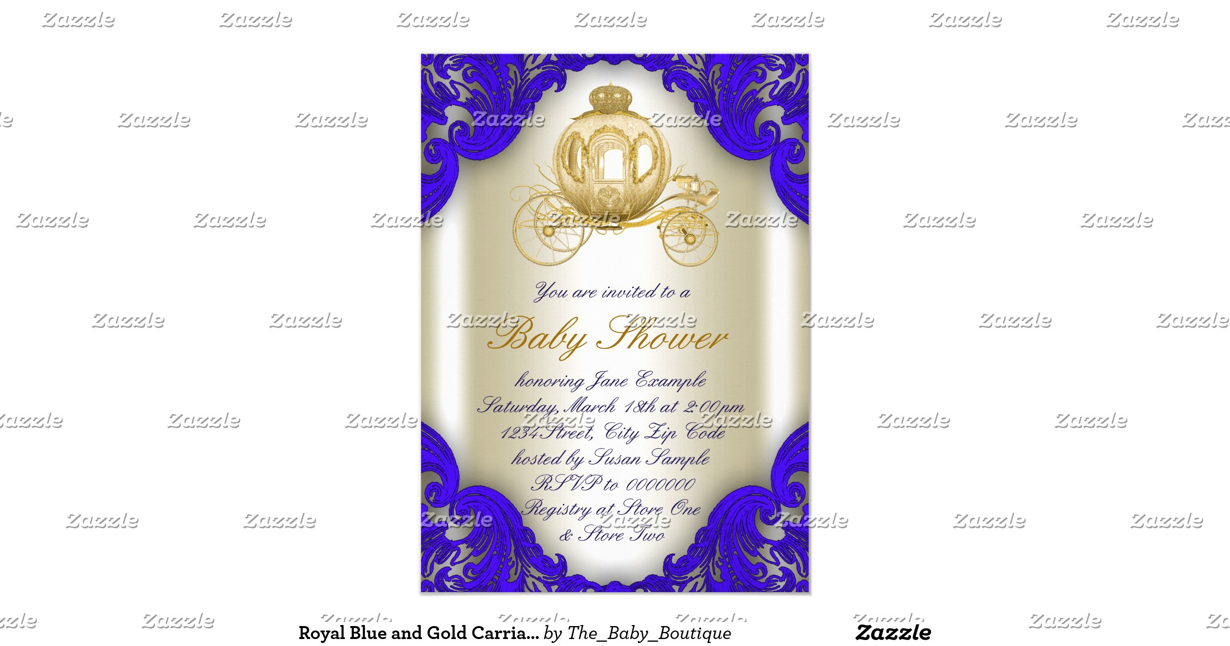 royal blue and gold carriage prince baby shower invitation