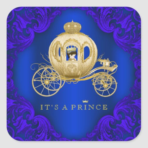 royal blue and gold carriage prince baby shower square sticker