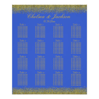Royal Blue and Gold Confetti - 16 Seating Chart