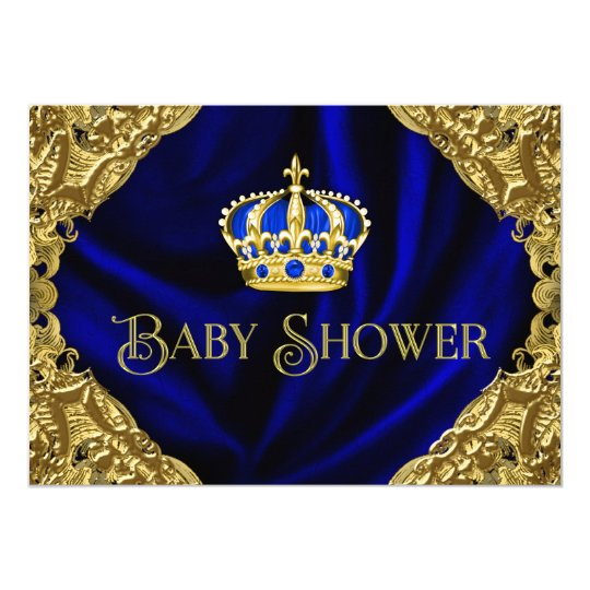 Royal Blue and Gold Crown Baby Shower Card | Zazzle