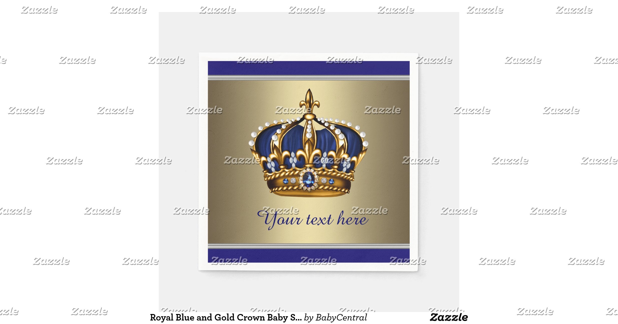 royal blue and gold crown baby shower standard cocktail napkin