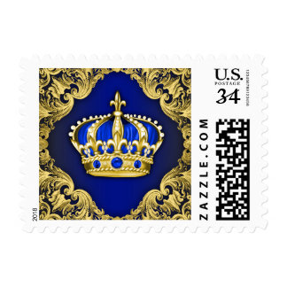 Royal Blue and Gold Crown Postage Stamp