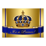 Royal Blue and Gold Crown Prince Baby Shower 3.5x5 Paper Invitation Card