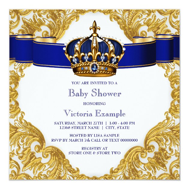 royal blue and gold crown prince baby shower card | zazzle, Baby shower invitations
