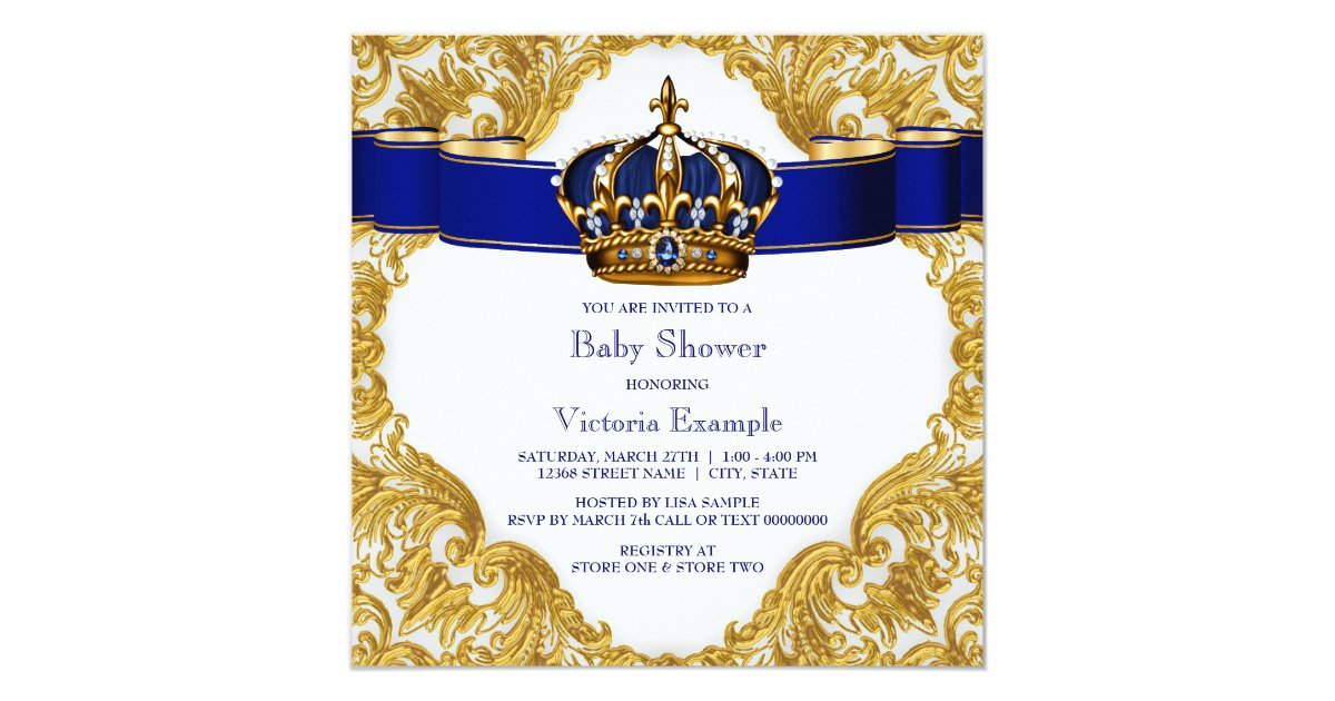 royal blue and gold crown prince baby shower card zazzle