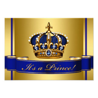 Royal Blue and Gold Crown Prince Baby Shower Personalized Invitation