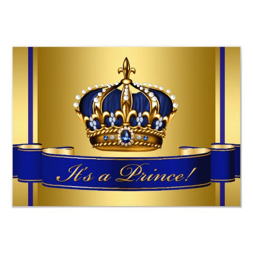 Royal Blue and Gold Crown Prince Baby Shower 3.5x5 Paper Invitation Card   Zazzle