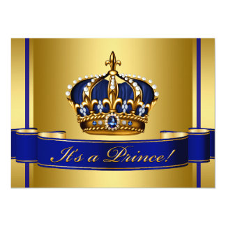 """Royal Blue and Gold Crown Prince Baby Shower 5.5"""" X 7.5"""" Invitation Card"""