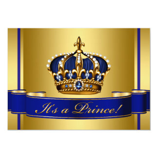 Royal Blue and Gold Crown Prince Baby Shower 5x7 Paper Invitation Card