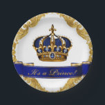 "Royal Blue and Gold Crown Prince Baby Shower Paper Plate<br><div class=""desc"">Prince baby shower paper plates with beautiful royal blue and gold jewel crown and blue prince banner on a rich gold swirl background.</div>"