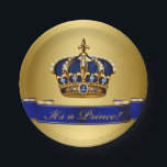 "Royal Blue and Gold Crown Prince Baby Shower Paper Plate<br><div class=""desc"">Prince baby shower paper plates with beautiful royal blue and gold jewel crown and blue prince banner on a rich gold background.</div>"