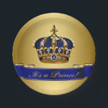 """Royal Blue and Gold Crown Prince Baby Shower Paper Plate<br><div class=""""desc"""">Prince baby shower paper plates with beautiful royal blue and gold jewel crown and blue prince banner on a rich gold background.</div>"""