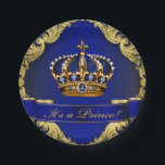 """Royal Blue and Gold Crown Prince Baby Shower Paper Plate<br><div class=""""desc"""">Prince baby shower paper plates with beautiful royal blue and gold jewel crown and blue prince banner on a rich blue and gold swirl background.</div>"""