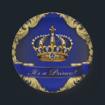 "Royal Blue and Gold Crown Prince Baby Shower Paper Plate<br><div class=""desc"">Prince baby shower paper plates with beautiful royal blue and gold jewel crown and blue prince banner on a rich blue and gold swirl background.</div>"
