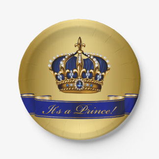 Royal Blue and Gold Crown Prince Baby Shower 7 Inch Paper Plate